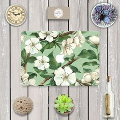 Beautiful Flowers Front Cover Laptop Decal Sticker Case For Apple Macbook Air Pro 11 13 15 Inch Guard Protective Cover Skin