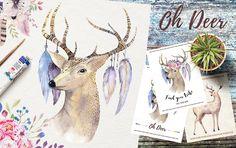 Watercolor deer and horns. Bohemian - Illustrations - 1