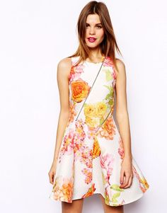 ASOS Skater Dress In Textured Floral Print With Zip Details