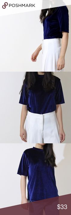 🌟 Velvet Top🌟(Royal Blue) 🌟 Velvet Top🌟(Navy) best for work with a high waisted pants or edgy jeans for casual and party look🎉 PURPLE 💜is also available in another listing 😉 Tops Tees - Short Sleeve