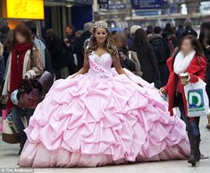 model dressed up as a gypsy bride onto the London streets....Haha WOW that dress is like as wide as a car!