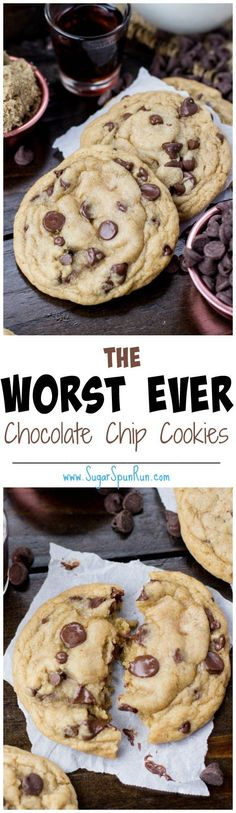 The WORST Chocolate Chip Cookies Oh boy, I wish I'd never discovered this recipe! These are some chocolate chip cookies! 13 Desserts, Cookie Desserts, Cookie Recipes, Delicious Desserts, Dessert Recipes, Cookie Cups, Cookie Dough, Chocolate Chip Cookies Rezept, Best Chocolate Chip Cookie