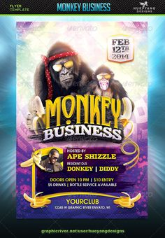 PSD Cool Monkey Business Flyer Template • Only available here ➝ http://graphicriver.net/item/monkey-business-flyer/6769099?ref=pxcr