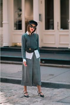 Chic outfit, baker boy hat, wide culottes