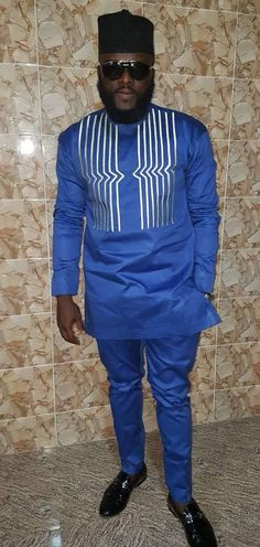Men's African Wear White with Gray Embroidery royal blue Latest African Styles, African Wear Styles For Men, African Shirts For Men, African Dresses Men, African Clothing For Men, African Attire, Nigerian Men Fashion, African Men Fashion, Africa Fashion