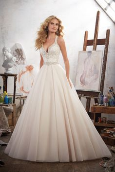 Wedding Dress - Mori Lee Bridal SPRING 2017 Collection: 8119 - Margarita - Embroidered Appliqués Trimmed with Crystal Beading on Tulle Ball Gown Spring 2017 Wedding Dresses, Western Wedding Dresses, Wedding Dresses Photos, Wedding Dresses For Sale, Bridal Wedding Dresses, Wedding Dress Styles, 2017 Bridal, Mori Lee Wedding Dresses, Lace Wedding