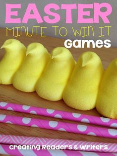 """Fun and simple Easter """"Minute-to-Win-It"""" Games for the Classroom ... great with family and friends at home, too! (Creating Readers and Writers)"""