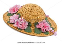 straw hats with flowers | Straw Hat With Pink Flowers Stock Photo 65401465 : Shutterstock