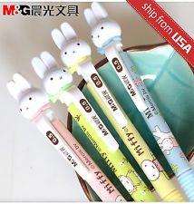 Kawaii - Fun Miffy Mechanical pencils - Pastel Pink, Green, Yellow, & Light Blue - Bunny Figure cute! 4x BTS 0.5mm - M&G