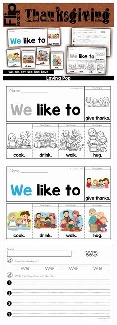 "FREE Thanksgiving fluency flip book (color and black & white) and writing prompt: ""I am thankful..."""