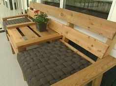 simple wooden bench with built in table