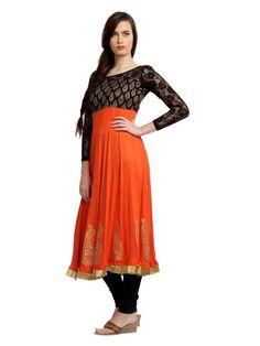 Designer Orange color Long #Kurti