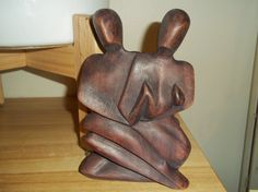 Vintage Wooden Hand Carved Sculpture Family by jewelryyouwilllove, $14.00