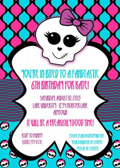 Monster High Birthday Party Digital Invitation by partyhardydesigns on Etsy!