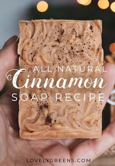 How to make natural cinnamon soap with pure essential oils, cocoa butter, clay for natural color, a simple swirl decoration, and a dash of cinnamon spice Handmade Soap Recipes, Soap Making Recipes, Handmade Soaps, Diy Soaps, Thm Recipes, Soap Making Supplies, Recipe Instructions, Goat Milk Soap, Cinnamon Spice