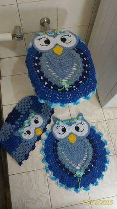 Jogo Banheiro croche coruja azul. Salvo da Net