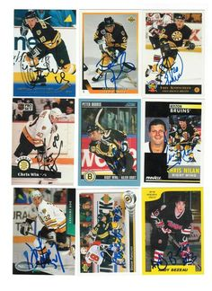 Boston Bruins Lot of 9 Autographed Cards. You will receive all cards in the picture. This Lot includes: Don Sweeney, Grigori Panteleyev, Andy Bezeau, Fred Knipscheer, Ted Donato, Peter Douris, Chris Winnes, Mariusz Czerkawski & Chris Nilan.