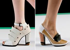 Shoes, with layered, color-blocked leather and heels covered in pyramid studs