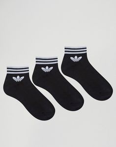 Adidas | adidas Originals 3 Pack Black Ankle Socks With Trefoil Logo