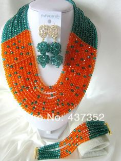Fashion Teal Orange African Wedding Beads Jewelry Set Nigerian Beads Crystal Necklaces Bracelet Earrings CPS-2066 $58.56