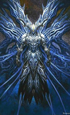 Leader of Cold - Able to control cold on a universal scale, has wings made of ice capable of flight, can manipulate chains surrounding self Monster Concept Art, Fantasy Monster, Monster Art, Fantasy Armor, Fantasy Weapons, Dark Fantasy Art, Demon Art, Fantasy Character Design, Character Art
