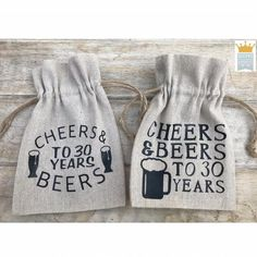 Cheers & Beers favor, Cheers and Beers decor, Birthday favor bag, Birthday favor bag, Chee 30th Birthday Favors, Fabric Garland, Garlands, Party Favor Bags, Bag Making, Valentine Gifts, Cheers, Etsy, Totes