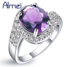 Special price Almei Wedding Women Ring Purple Stone Anillos Mujer Silver Color Jewerly Love Purple CZ Zircon Rings Bijoux Nuevos Anillos J334 just only $5.96 with free shipping worldwide  #weddingengagementjewelry Plese click on picture to see our special price for you