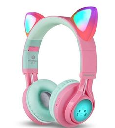 Kids Headphones, Riwbox Cat Ear Bluetooth Headphones Volume Limiting,LED Light Up Kids Wireless Headphones Over Ear with Microphone for iPhone/iPad/Kindle/Laptop/PC/TV(Blue&Green) Cat Headphones, Bluetooth Headphones, Gaming Headset, Accessoires Iphone, Accesorios Casual, Smartphone, Gifts For Girls, Pink And Green, Green Led