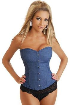 a12424b8039b3 Blue Sexy Hook Eye Denim Overbust Corset With Lace Thong