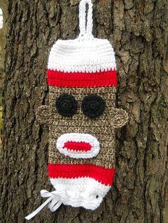 Crochet Plastic Bag Holder - Sock Monkey Pic only Crochet Sock Monkeys, Crochet Socks, Knit Or Crochet, Learn To Crochet, Cute Crochet, Crochet Kitchen, Crochet Home, Crochet Crafts, Crochet Projects