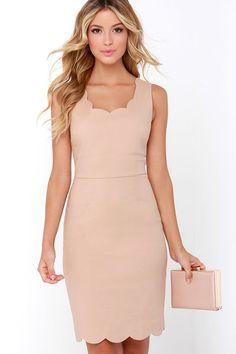 Another Kiss Good Night Beige Dress at Lulus.com!