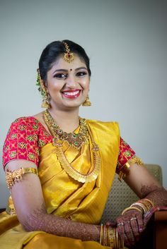 Swetha has paired a beautifully done Red blouse with Green work along with her golden yellow saree! www.shopzters.com
