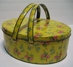 Vintage YELLOW Metal Handled BOX Floral Sewing TIN Retro FLORAL Pink ROSES