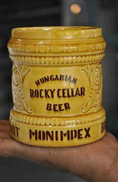 Vintage Hungarian Rocky Cellar Beer Ad ceramic Engraved Cup , Hungary