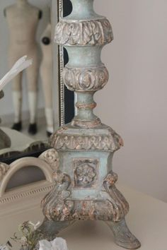 I have some lamps and candlesticks which could use this treatment. Chalk Paint Projects, Chalk Paint Furniture, Furniture Design, French Decor, French Country Decorating, Painted Candlesticks, Paint Effects, Brass Lamp, Annie Sloan Chalk Paint