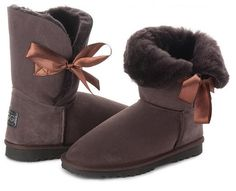 Betty Bow Choc Boots, Australian Made Sheepskin #aussie #australianmade #sheepskin #boots #comfy #shoesaholic #shortboots #bow #lace #cute #mood #chocboots #brownboots #chocolate #styling #fashion #outfit #fashioninspiration