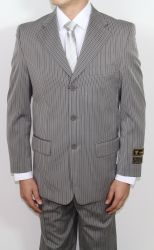 Men's Three Button Taupe Striped Suit ~BUY 1 GET 1 FREE~