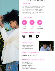 Media kits for Influencers are important to have when working with different brands. Find out how to create one and what to include yours! Instagram Influencer, Social Media Marketing Business, Social Media Tips, Content Marketing, Internet Marketing, Kit Media, Entrepreneur, Media Kit Template