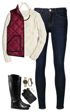 """""""Checked puffer vest & cable knit sweater"""" by steffiestaffie ❤ liked on Polyvore featuring Frame Denim, J.Crew, Kate Spade, Tory Burch, Michael Kors, Majorica, Coach, women's clothing, women and female"""