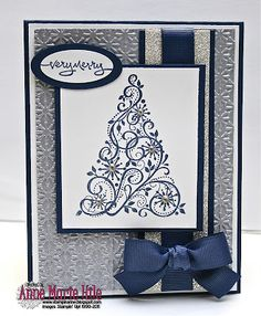 Stampin' Anne: Paper Players - Jaydee's CAS Colors would look nice with green and silver or gold Christmas Paper Crafts, Homemade Christmas Cards, Christmas Cards To Make, Noel Christmas, Xmas Cards, Handmade Christmas, Homemade Cards, Silver Christmas, Simple Christmas