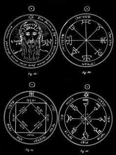"Seven Pentacles of the Sun, ""Clavicula Salomonis"" (The Key of Solomon), 14th century.First Pentacle of the Sun (fig. 32) - This singular pentacle contains the head of the great angel Methraton or Metatron, the vice-gerent and representative of Shaddaï, who is called the Prince of Countenances, and the right-hand masculine cherub of the Ark, as Sandalphon is the left and feminine. On either side is the name 'El Shaddaï.' Around is written in Latin: 'Behold his face and form by wh..."