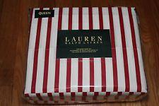 """Ralph Lauren Queen Admiral Red White Stripe Sheet Set 100% Cotton 18"""" NEW"""