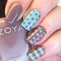 Brown and mint green dots. I just love these colours together. #notd #nails #nailart