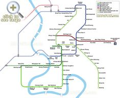 Public transport rail lines with BTS Sky Train MRT Metro Tube Subway Underground Blue Purple ARL SRT BRT Bangkok top tourist attractions map