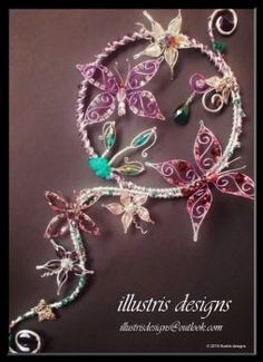Long suncatcher with butterflies by illustrisdesigns
