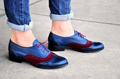Leather Oxford For Women Three Tone Shoes Wide Shoes Women Womens Brogues Oxfords, Blue Brogues, Brown Oxfords, Brown Leather Shoes, Loafers, Oxford Boots, Oxford Brogues, Women Oxford Shoes, Shoes Women
