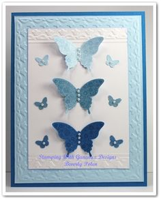 Stampin' Up! Papillon Potpourri stamp set Cardstock Pacific Point , Bashful Blue , Marina Mist and Whisper White Framed Tulips EF ,Elegant Butterfly Punch, Beautiful Wings Embosslit, Vanilla Shimmer Smooch Spritz , Basic Pearls