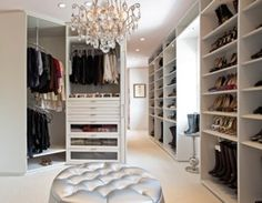 Would love a walk-in wardrobe like this! Yeah, like that's gonna happen!