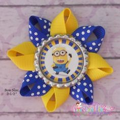 Despicable Me Minion Birthday Party Favor Hair Bows- or find a bottle cap and do something like this 4th Birthday Parties, Birthday Party Favors, Birthday Fun, Birthday Crowns, Birthday Ideas, Minion Theme, Minion Birthday, Despicable Me Party, Minion Party