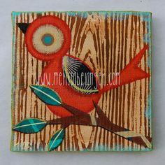 retro TWeeT painting poppy red 6x6 inches by MelissaBelangerArt, $58.00